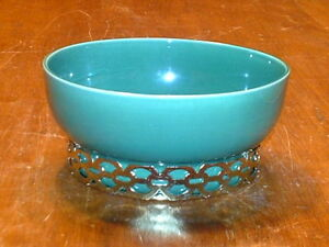 Berns Of Hollywood Mcm Mid Century Modern Pottery Bowl W Brass Base