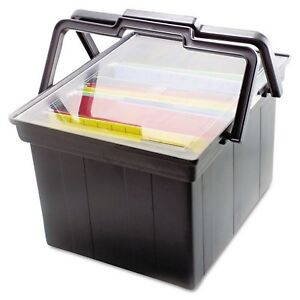 Black Portable Letter Legal File Plastic Storage Box Advantus Companion