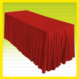 6 Fitted Table Skirt Cover Tablecloth W top Topper Wedding Banquet Red