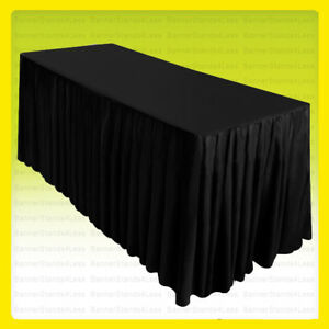 8 Fitted Table Skirt Cover Tablecloth W top Topper Wedding Banquet Event Black