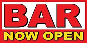 Bar Now Open Banner Sign Sizes 24 48 72 96 120