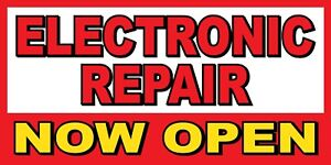 Electronic Repair Now Open Banner Sign Sizes 24 48 72 96 120