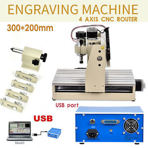 Usb 4axis 3020 Cnc Router Engraver Engraving Woodworking Mill drilling 3d Cutter
