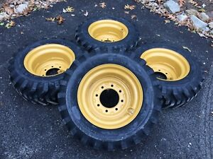 4 New 10 16 5 Skid Steer Tires wheels rims For Caterpillar 216 226 Cat 10x16 5