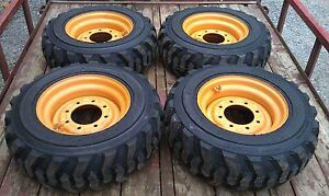 4 New 10x16 5 Skid Steer Tires Rims For Case 6 Or 8 Lug 10 16 5 10 Ply