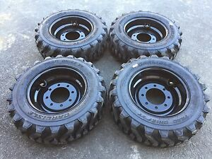 4 Hd 10 16 5 Trac Chief Xt Skid Steer Tires wheels black Rims For Bobcat 10ply
