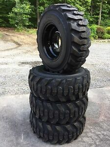 4 New 12 16 5 Deestone Skid Steer Tires On Black Wheels rims 12x16 5 12 Ply