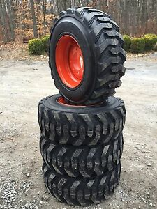 4 New 12 16 5 Deestone Skid Steer Tires Wheels rims For Bobcat 12x16 5 12 Ply
