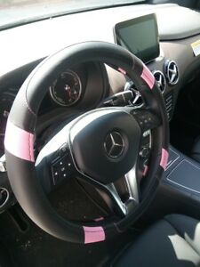 Black Pink Pu Leather Steering Wheel Cover Limited Edition Stylish Fashion