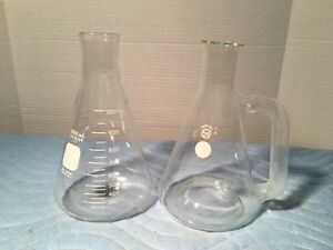 Vtg Lot 2 Large Pyrex 1000 Ml Erlenmeyer Flasks 1 W Handle Concave Lab Glass