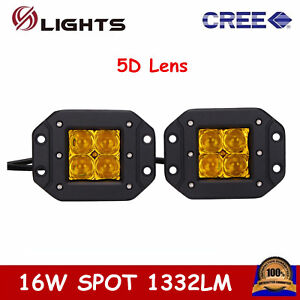 2x 16w Cree Spot Flush Mount Led Work Light Off Road 4wd Fog Lamp Jeep Amber 5d