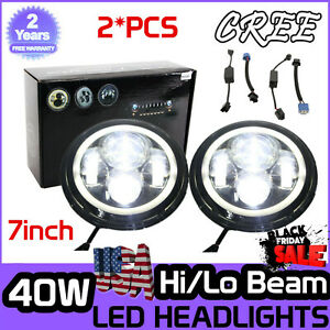 2x 7inch 40w Cree Led Halo Angel Eyes Hi Lo Headlights For Jeep Wrangler Jk Tj