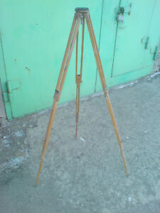 Vintage Wooden Tripod Geodetic For Theodolite Survey Ussr