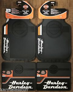 Harley Davidson Bar Shield Stacked Front And Rear Car Truck Rubber Floor Mats