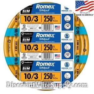 Romex 250 10 3 Gauge Simpull Nm b Indoor Copper Electrical Wire 10 3 Awg Roll