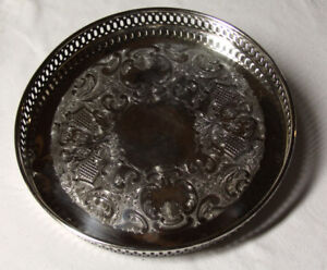 Marlboro Silver Plate 10 1 4 Round Serving Tray Platter Scroll Design