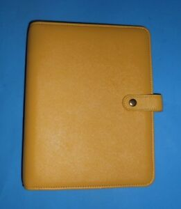 Franklin Covey Yellow Saffiano Leather Snap Binder Planner Organizer 7 Ring 1 5