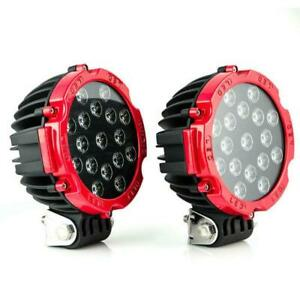 2x Red 51w Round Led Light Pod 7inch Spot Work Off Road Roof Bar Bumper Driving