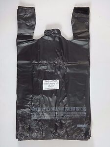 1 6 Plastic T shirt Bags With Handles Black 11 5 x 6 5 x 22 Retail Shopping Bag