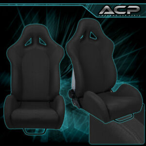 Pair Car Automotive Jdm Reclinable Racing Sport Bucket Seat Chair Slider Mount
