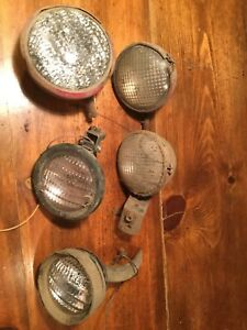 Vintage Lot 5 Tractor Lens Light Housing Ge Glass Guide W Mounting Hardware