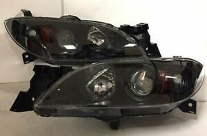 Projector Headlight Black Housing Amber Reflector Clear Lens For 04 09 Mazda 3