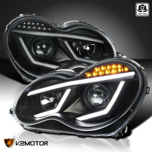 For 2001 2007 Mercedes Benz W203 C230 C240 Led Strip Projector Headlights Black