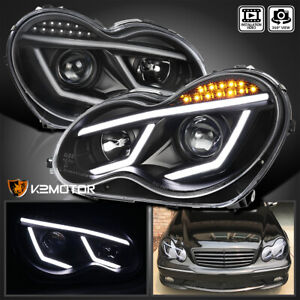 For 2001 2007 Mercedes Benz W203 C230 C240 Led Drl Projector Headlights Black