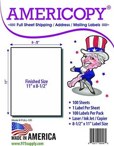 Full Sheet Labels 8 5 X 11 Shipping address Labels 1 sheet 100 Sheets pack