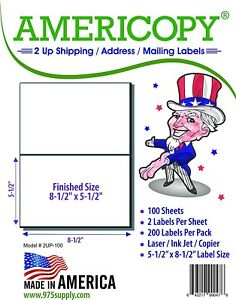 Americopy 2up 8 5 X 5 5 Shipping address Labels 2 sheet 100 Sheets pack