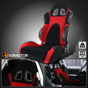 Driver Side Black Red Faux Suede Pvc Leather Type 6 Sport Racing Seat W Slider