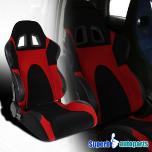 Red Pvc Leather Faux Suede Racing Seat W Slider Type6 Passenger Right Side
