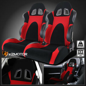 Black Red Faux Suede Pvc Leather Type 6 Sport Racing Seats W Sliders Left Right