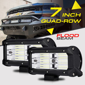Pair 7inch 648w Tri Row Flood Beam Cree Led Work Light Bar Offroad Truck Suv 9
