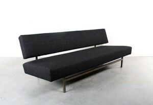Vintage Mid Century Rob Parry For Gelderland Black Felt Upholstered Daybed Sofa