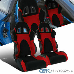 Black Red Suede Leather Pvc Reclinable Type 6 Racing Seats Slider Rail 2pc