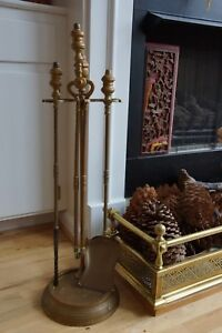 Antique Bronze 3 Piece Fireplace Tool Set With Stand Poker Shovel