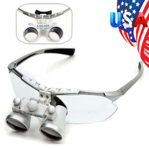 Silver Dentist Dental Surgical Medical Binocular Loupes 3 5x 420mm Optical Glass