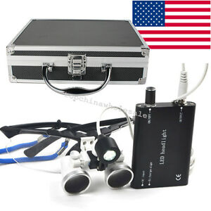 Dental Surgical Medical Binocular Loupes 3 5x 420 Head Light Metal Case Portable
