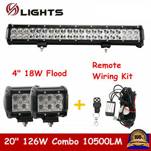 20inch 126w Combo Led Light Bar 4 18w Flood Pods Lights W Remote Wiring Kit