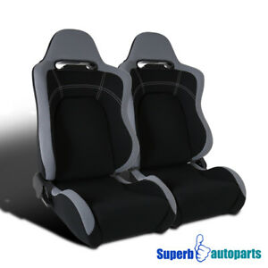 Black Cloth Gray Trim Sport Racing Seats W sliders Passenger driver Pair