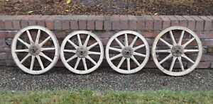 Antique Set Of 4 Wooden Wagon Wheels With Metal Tire Rim Buggy Goat Cart