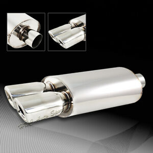 3 Remis Style Dual Square Tip Stainless Weld On Exhaust Muffler Universal 1