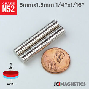 6 Mm X 1 5 Mm 1 4in X 1 16in N52 Small Strong Disc Rare Earth Neodymium Magnet