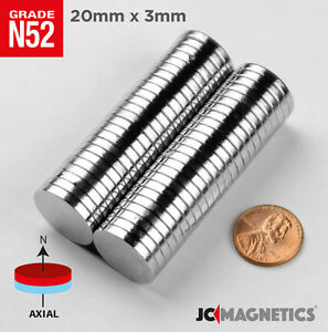 20 Mm X 3 Mm 13 16in X1 8in N52 Super Strong Disc Rare Earth Neodymium Magnet