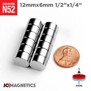 12 Mm X 6 Mm 1 2in X 1 4in N52 Super Strong Rare Earth Neodymium Magnet Disc