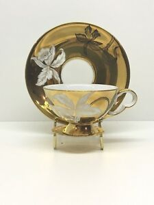 Antique Vintage Wako China Tea Cup Saucer Gold W White Flower Teacup Set 5264