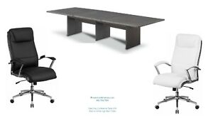 Gray 12 Foot Conference Table And 10 White Or Black Chairs Set High Quality