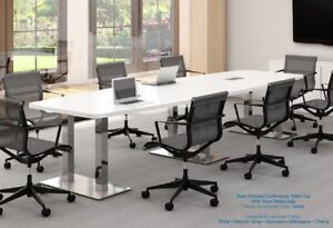 14 Foot Modern White Conference Table With Grommets And Steel Metal Legs