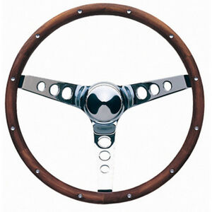 Grant Chrome Steel 13 1 2 In Diameter Classic Wood Steering Wheel P N 213